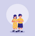 little kids couple characters vector image