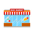 mini market shop in flat style vector image vector image