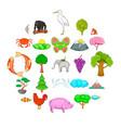 natural diversity icons set cartoon style vector image vector image