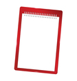 notebook blank with spiral red vector image vector image