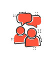people with speech bubble icon in comic style vector image vector image