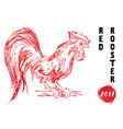 red rooster or cock symbol of 2017 year hand vector image vector image