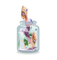 saving flat money jar vector image vector image