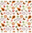 Seamless exotic fruit pattern vector image