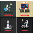 set of space exploration posters banners vector image vector image