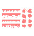 set pink bubble gum drops and splash stains vector image