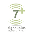 signal number 7 plus green figure wireless vector image