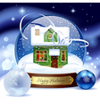 Snow globe with green wooden christmas house vector image vector image