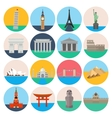 Travel landmarks icon set vector image vector image
