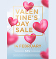valentine day sale web banner red heart vector image