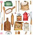 watercolor cooking tools pattern vector image vector image