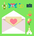 wedding invitation celebration set flat vector image