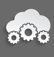 White cloud with cogs 3d vector image