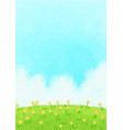 yellow flower meadow with cloud sky on noon vector image