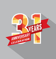 31st Years Anniversary Celebration Design vector image