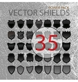Abstract shields black forms set isolated vector image