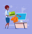 african american business woman use computer vector image vector image