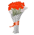 Beautiful Red Poppies in Newspaper vector image vector image