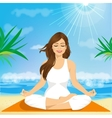 beautiful young woman sitting in yoga pose vector image vector image