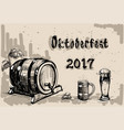 beer barrel glass sketch oktoberfest festival vector image