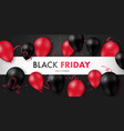 black friday sale banner with glossy black and vector image