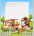 blank paper in organic farm with animal farm set vector image vector image