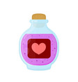 bottle of magic pink love elixir potion vector image