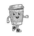 cartoon coffee cup sketch vector image vector image