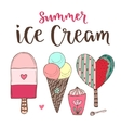 cartoon ice cream set Cones and cute vector image vector image
