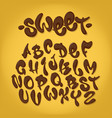 chocolate hand drawn typeset sweet alphabet vector image