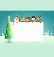 christmas poster template with santa claus friends vector image