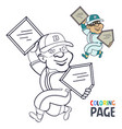 coloring page with baseball player cartoon vector image
