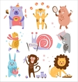 Colourful Childish Animals Set vector image vector image