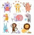 Colourful Childish Animals Set vector image
