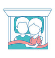cute couple in love in the bed vector image