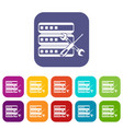 database with screwdriver and spanner icons set vector image vector image