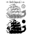 design set with sea dragon and old ship vector image vector image