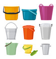 different buckets set isolate vector image