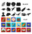 different dinosaurs flat icons in set collection vector image