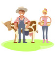 farmers family gardeners cartoon people vector image vector image