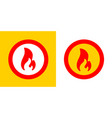 fire flame burn hot sign symbol red and yellow vector image