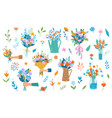 floral bouquet composition in hands holiday gift vector image