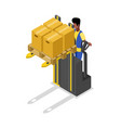 forklift cart loading boxes isometric 3d icon vector image vector image