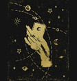 gold witchs hand with cosmos on black textured vector image