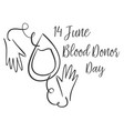 hand draw blood donor day collection vector image