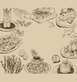 hand drawn background with food elements vector image
