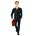 Handsome young man wearing airline pilot uniform vector image vector image