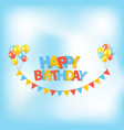 happy birthday party background with flags and vector image vector image