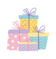 happy birthday wrapped gift boxes celebration vector image