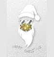 hipster santa claus wears glitter surgical mask vector image vector image